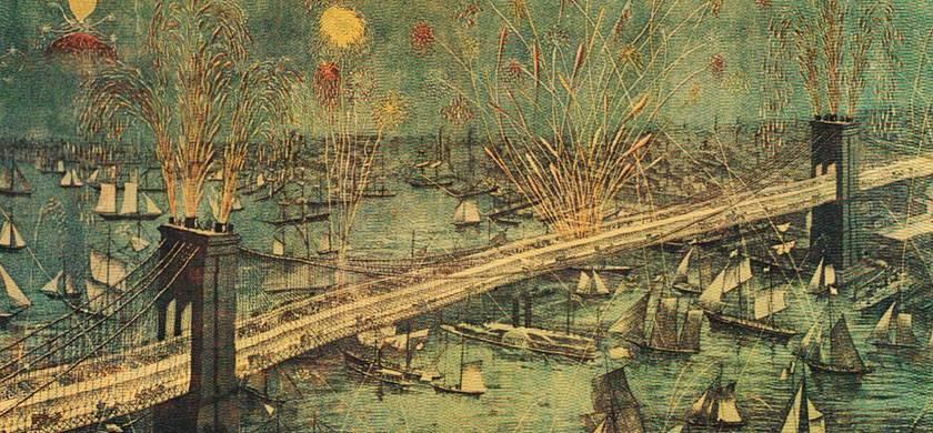 pintura representando la fiesta de apertura del puente de brooklyn