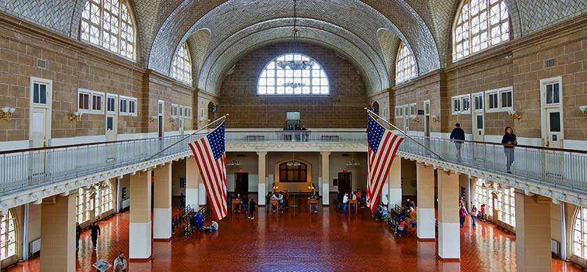 Hall del principal edificio de Ellis Island
